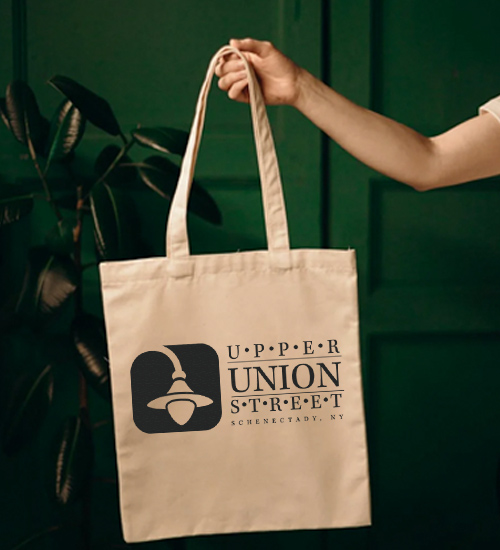 tote bag with upper union street logo